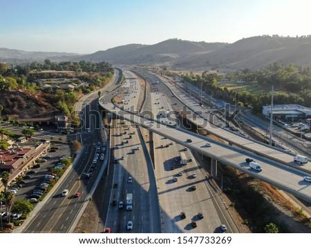 Aerial view of the San Diego freeway, Southern California freeways, USA #1547733269