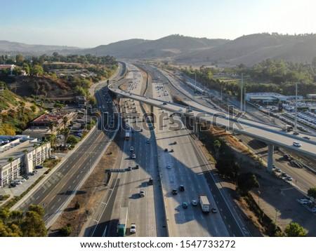 Aerial view of the San Diego freeway, Southern California freeways, USA #1547733272