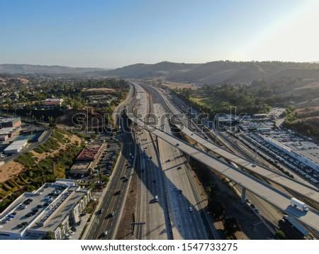 Aerial view of the San Diego freeway, Southern California freeways, USA #1547733275