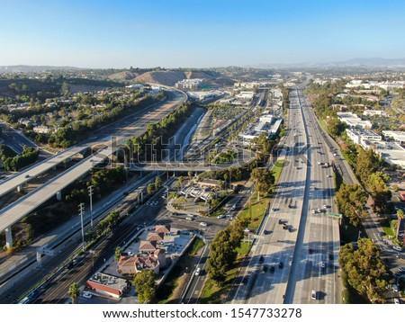 Aerial view of the San Diego freeway, Southern California freeways, USA #1547733278