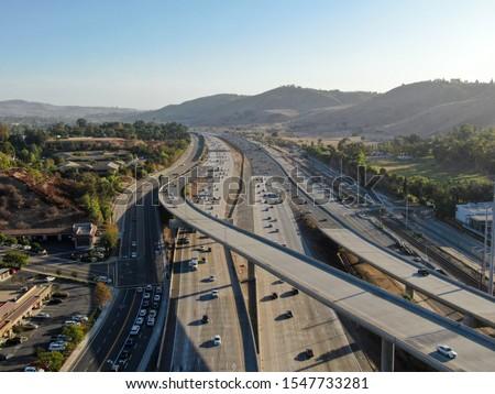 Aerial view of the San Diego freeway, Southern California freeways, USA #1547733281