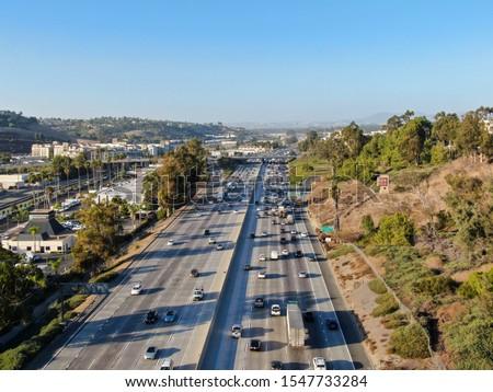 Aerial view of the San Diego freeway, Southern California freeways, USA #1547733284