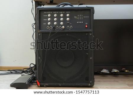 High quality loudspeakers.Hifi sound system in shop for sound recording studio.Professional hi-fi cabinet speaker box.Audio equipment for record studios.Buy dj equip in music store #1547757113