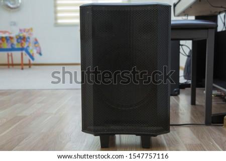 High quality loudspeakers.Hifi sound system in shop for sound recording studio.Professional hi-fi cabinet speaker box.Audio equipment for record studios.Buy dj equip in music store #1547757116