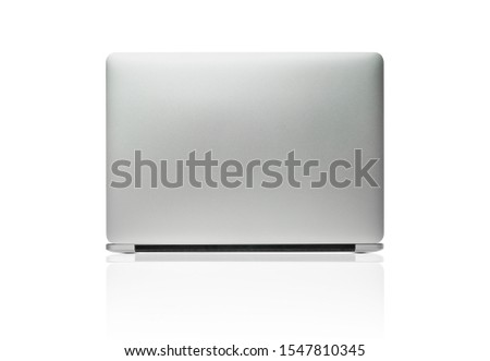 The back view of the new laptop isolated with clipping path on white background Royalty-Free Stock Photo #1547810345