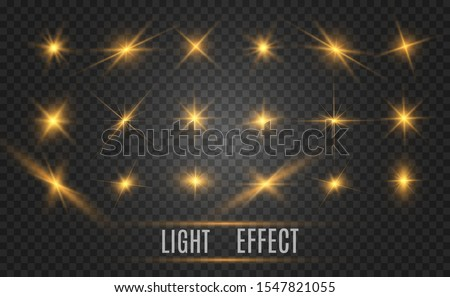 Set of bright beautiful stars. Light effect. Bright Star. Beautiful light to illustrate. Christmas star. White glitter sparkles with special light effect. Vector sparkles on a transparent background. #1547821055