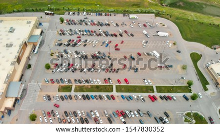 Car parking lot viewed from above, Aerial view. Top view. #1547830352