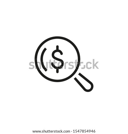 Lookup line icon. Dollar sign, magnifying glass, research. Paid search concept. Vector illustration can be used for topics like finance, marketing, analytics
