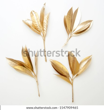 golden leaf design elements. Decoration elements for invitation, wedding cards, valentines day, greeting cards. Christmas decor Isolated on white background.                                 #1547909465