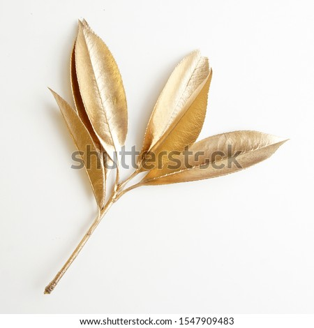 golden leaf design elements. Decoration elements for invitation, wedding cards, valentines day, greeting cards. Christmas decor Isolated on white background.                                 #1547909483