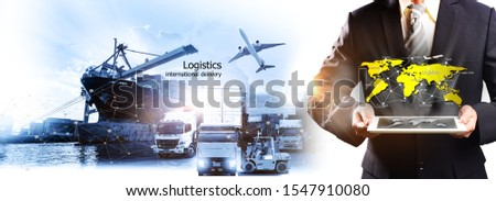 Multiple exposures of Businessman touching tablet for analyze stock at logistics port and world map with logistic network distribution on background, Logistics international delivery concept #1547910080
