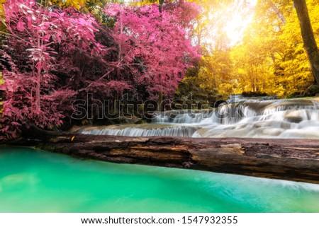 Amazing, beautiful waterfalls in the rainforest, Erawan National Park #1547932355