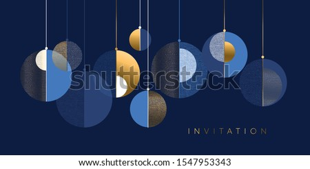 Christmas abstract baubles elegant geometric header. Lux and business vibes laconic xmas design element for card, header, invitation, poster, social media, post publication.  Royalty-Free Stock Photo #1547953343