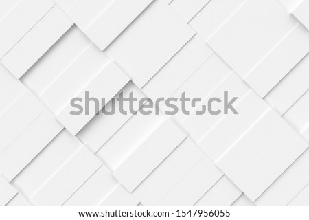 White abstract moving structure of rectangles. Light bright clean minimal rectangular grid pattern, random waving motion background canvas in pure white wall. 3d illustration #1547956055