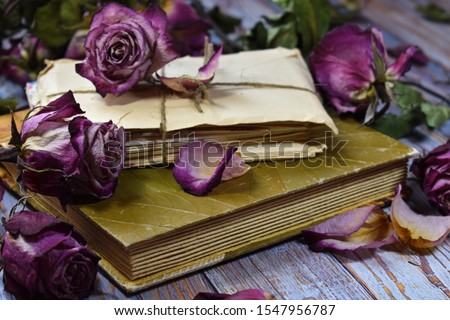 Nostalgic vintage mood background. Dry decorative purple rosebuds and old letters. Withered roses on an album close-up. Dying flowers, old letters and a photo album on the table. Memories of  past.