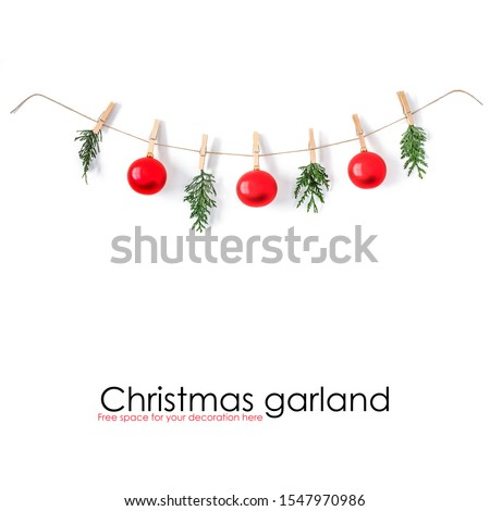 Christmas composition on a white background. Sisal string, fir twigs, Christmas balls, place for your advertisement or text. Wooden laundry clips. copy space, top view, flat photo. December day and Ch #1547970986