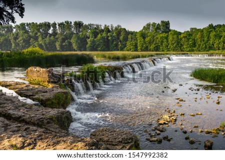 Waterfall.  Waterfall view. Waterfall river scene. Beautiful landscape #1547992382