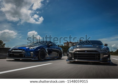 Penang, Malaysia - November 2 2019: The Nissan GT-R is a high-performance car produced by Nissan, which was unveiled in 2007. It is the successor to the Nissan Skyline GT-R. #1548059015