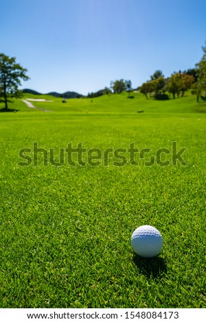 Golf Course with golf ball. Golf course with a rich green turf beautiful scenery. #1548084173
