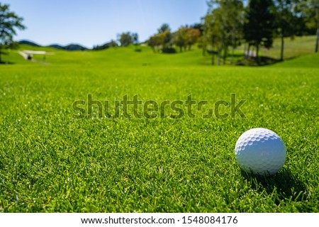 Golf Course with golf ball. Golf course with a rich green turf beautiful scenery. #1548084176