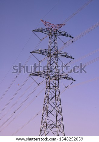 High-voltage transmission lines and transmission tower at sunset. An Electrical Pylon alone. #1548252059