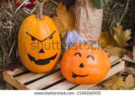 Orange october pumpkins holiday symbols #1548260450
