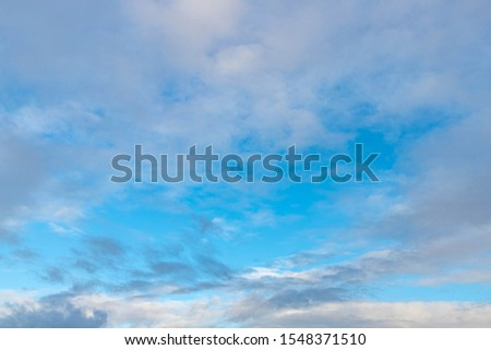 Beautiful skies after rain with white grey cloudy and blue sky, Stratus clouds are low-level clouds characterized by horizontal layering with a uniform base, Nature background.
