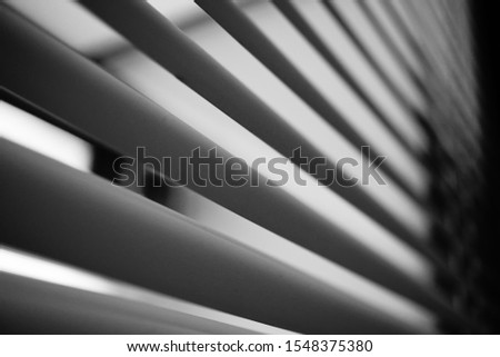 Curtain in black and white straight line perspective pattern from bottom angle #1548375380