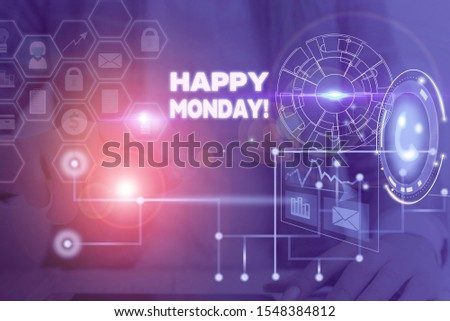 Writing note showing Happy Monday. Business photo showcasing telling that demonstrating order to wish him great new week Picture photo network scheme with modern smart device.