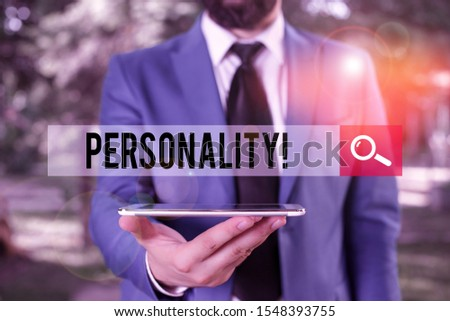 Handwriting text writing Personality. Concept meaning combination characteristics that form individuals character Businessman in blue suite with a tie holds lap top in hands. #1548393755