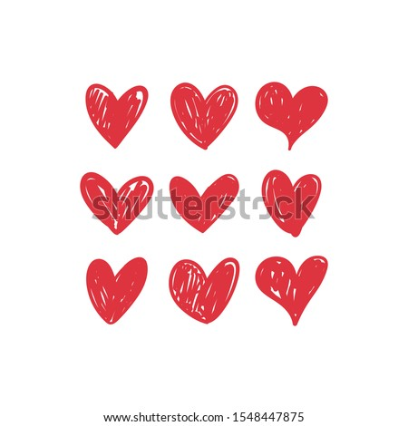 Doodle hearts, hand drawn love heart collection. #1548447875