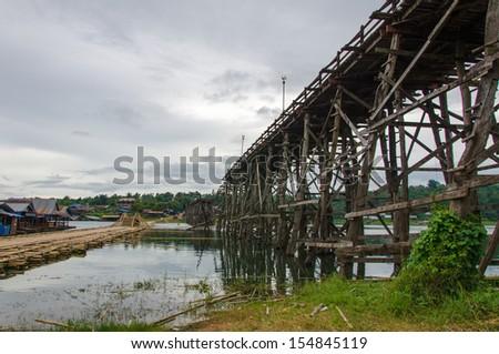 Longest wooden bridge in Thailand. #154845119