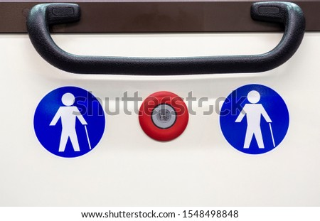 Symbol for seat or area reserved for the elderly on city buses. Symbol with white person on a blue background. Stop booking button #1548498848