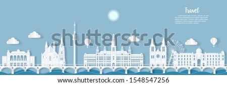 Travel Austria architecture of Austria landmark cityscape and the river with panoramic views , origami style paper for travel postcards, Vector illustration. #1548547256
