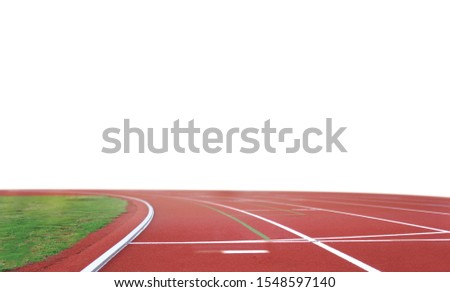 isolated Running track in stadium with green grass on white background.  #1548597140