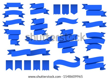 Blue ribbon banners and flags. Flag shape banner, decor tape and curved badge flat vector set. Collection of pennants, labels and streamers. Flaglike objects. Decorative elements, party attributes #1548609965
