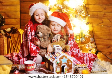 two cute funny little girls in red Santa hats covered with a plaid smile against the background of Christmas decor and lights and make a beautiful gingerbread house #1548700409