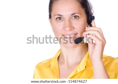 Beautiful young woman talking on the phone isolated on white background #154874627