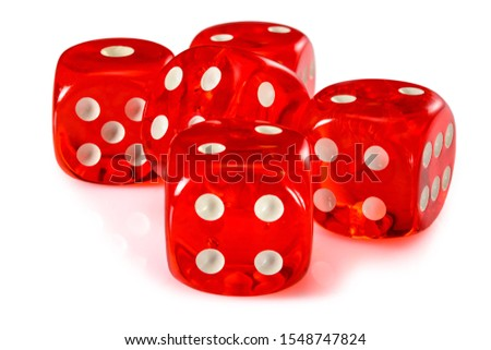 Red acrylic transparent dice for games. Five gambling translucent dices on white background, macro close up high resolution. #1548747824