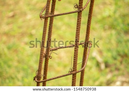 Rusty, Iron rods rod, in construction site. #1548750938