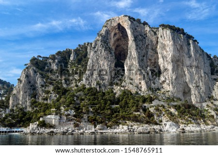 Beautiful landscape with coastal cliffs on the island of Capri. #1548765911