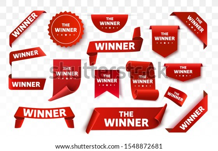Winner tags or labels isolated. Red scroll banners. Vector illustration #1548872681