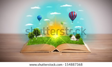 Open book with green nature world coming out of its pages, ecological concept #154887368