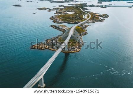 Drone aerial view of Atlantic Ocean Road or the Atlantic Road (Atlanterhavsveien), Norway Royalty-Free Stock Photo #1548915671
