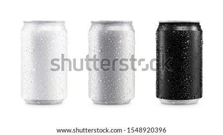 Aluminum cans in white,silver,black isolated on white background,canned with water drops #1548920396