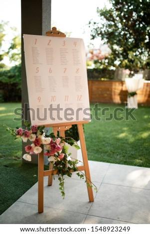 Welcome board at outdoor wedding venue.