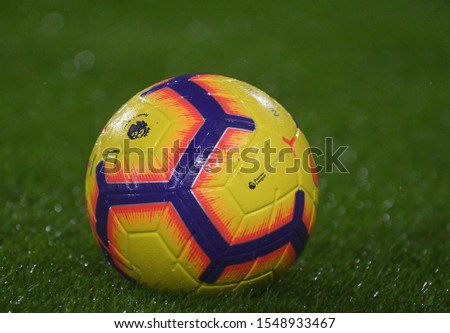 LONDON, ENGLAND - DECEMBER 15, 2018: The official Premier League match ball pictured prior to the 2018/19 Premier League game between Fulham FC and West Ham United at Craven Cottage. #1548933467