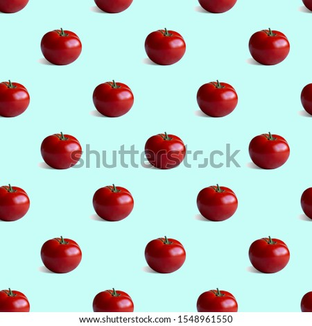 Seamless pattern with fresh tomato on a bluish background. Modern isometric concept #1548961550