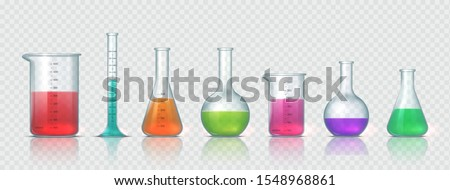 Laboratory equipment. Realistic 3D glass tubes, flask, beaker and other chemical and medicine lab measuring equipment. Vector illustration testing equipments set for science experiments or measuring Royalty-Free Stock Photo #1548968861