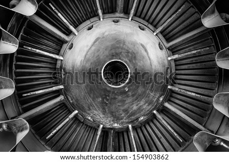 Closeup of a jet engine of an aircraft #154903862